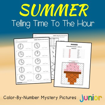 Summer Telling Time To the Hour Coloring Sheets, Mystery Pictures