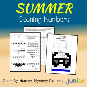 Summer Counting Numbers Coloring Sheets, Mystery Pictures