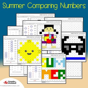 Summer Comparing Numbers Coloring Sheets, Mystery Pictures