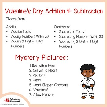 Valentines Day Addition and Subtraction Coloring Sheets, Mystery Pictures