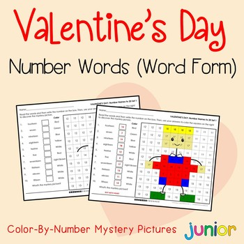 Valentines Day Number Words Coloring Sheets, Mystery Pictures