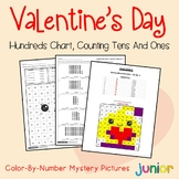 Valentines Day Math First Grade, Valentine Hundreds Chart Coloring Worksheets