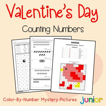 Valentines Day Counting Numbers Coloring Sheets, Mystery Pictures
