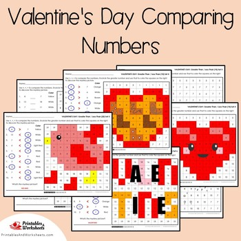 Valentines Day Comparing Numbers Coloring Sheets, Mystery Pictures