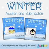 Winter Addition and Subtraction Coloring Sheets, Mystery Pictures