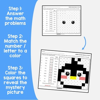 Winter Number Words Coloring Sheets, Mystery Pictures