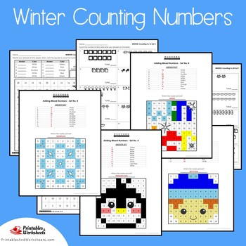 Counting Kindergarten Math Fall Winter Kinder, 1st Grade Activities