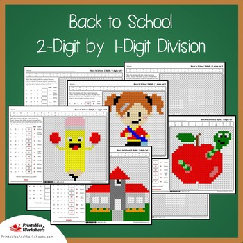 Back to School 2-Digit by 1-Digit Division Coloring Pages