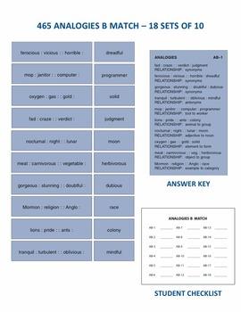 Analogies B Match Manipulatives & Task Cards