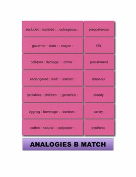 Analogies B Match Manipulatives & Task Cards