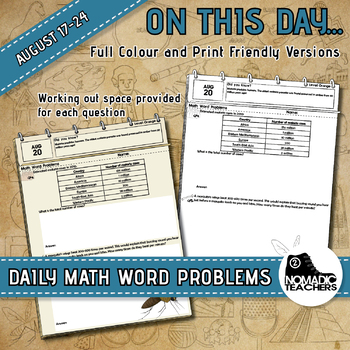 465 Math Word Problems -  Complete Month of August