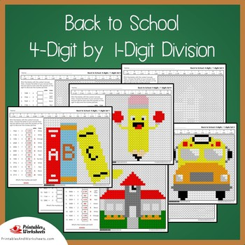 Back to School 4-Digit by 1-Digit Division Coloring Pages