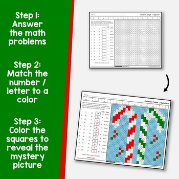 Color By Subtraction Christmas Number Activity, Math Mystery Pictures 2nd Grade