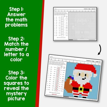 3-Digit Color By Number Subtraction Christmas Mystery Picture Sheets