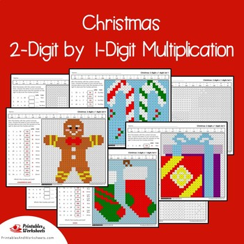 Double And Single Digit Multiplication Color By Number Christmas 4th Grade Math