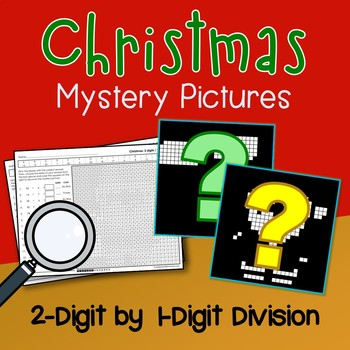 Mystery Picture Division Worksheets, Color By Number Math Christmas Activity