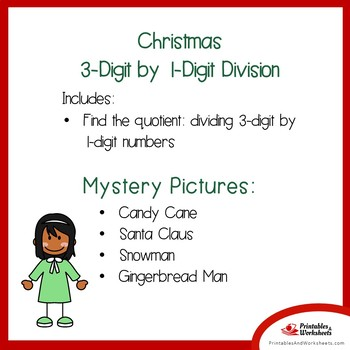Long Division Coloring Page, Math Christmas Worksheets Mystery Picture Activity