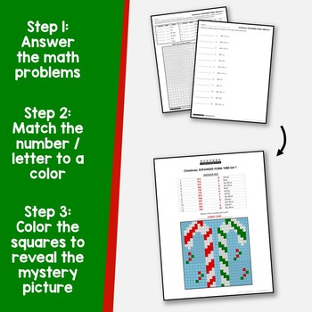 Math Mystery Pictures Place Value Christmas, Expanded Form Coloring Pages