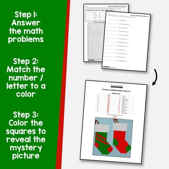 Christmas Math Mystery Pictures Place Value Word Form Coloring Worksheets