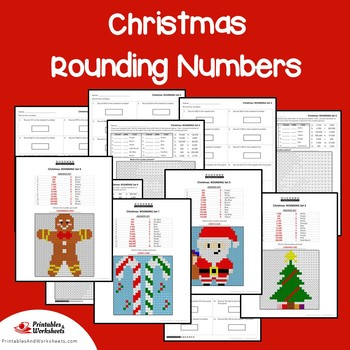 Christmas Rounding Worksheets, Place Value Rounding Coloring Sheets