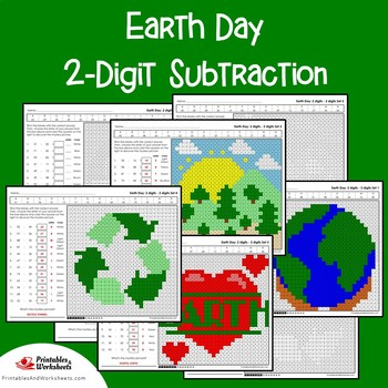 Earth Day 2 Digit Subtraction Coloring Pages