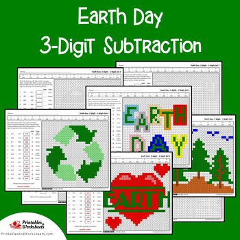 Earth Day 3 Digit Subtraction Coloring Pages
