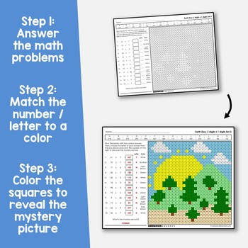 Earth Day 2-Digit by 1-Digit Multiplication Coloring Pages
