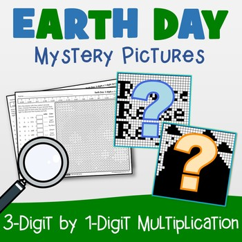 Earth Day 3-Digit by 1-Digit Multiplication Coloring Pages