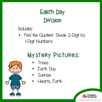 Earth Day 2-Digit by 1-Digit Division Coloring Pages