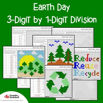Earth Day 3-Digit by 1-Digit Division Coloring Pages