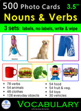 Photo Vocabulary Cards Bundle: 500 NOUNS & VERBS: Speech Therapy ESL Autism SpEd