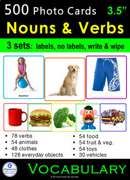 Photo Vocabulary Cards Bundle: 540 NOUNS & VERBS: Speech Therapy ESL Autism SpEd