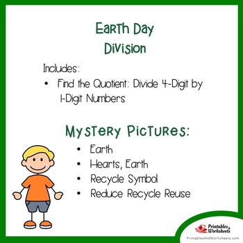 Earth Day 4-Digit by 1-Digit Division Coloring Pages