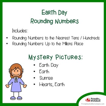 Earth Day Rounding Numbers Coloring Pages