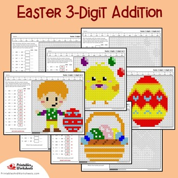 Easter 3 Digit Addition Coloring Pages