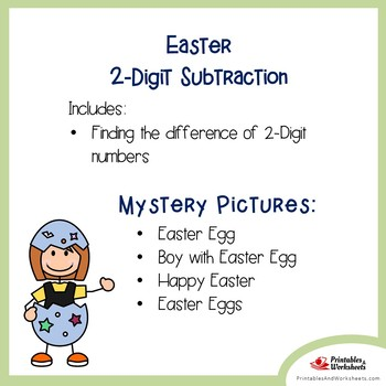 Easter 2 Digit Subtraction Coloring Pages
