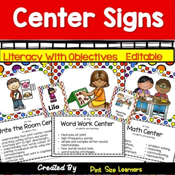 47 Center Signs With Objectives and Editable Management Cards