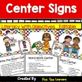 51 Center Signs With Objectives and Editable Student Cards