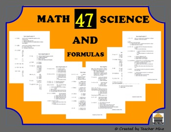 47 Interesting Math & Science Formulas