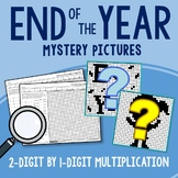 End of the Year 2-Digit by 1-Digit Multiplication Coloring Pages