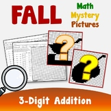 Three Digit Addition, Fall Addition Color By Number Mystery Picture Worksheets