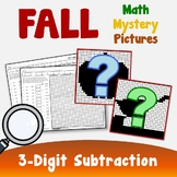 3-Digit Fall Subtraction Coloring Pages, Fall Math Worksheets Coloring Activity
