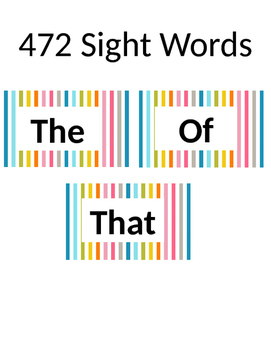 472 Sight Words for Word Wall