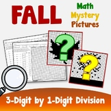 3 By 1 Digit Division Coloring Sheets, Fall Themed Math Worksheets