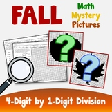 Long Division Coloring Worksheets, Fall Math Project Mystery Picture Activity