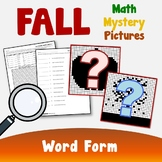 Color By Number Word Form, Fall Place Value Mystery Picture Activity Worksheets