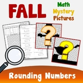 Place Value Color By Code, Fall Math Rounding Activity Mystery Picture Sheets
