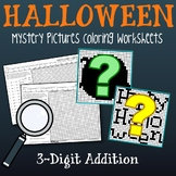 Halloween 3 Digit Addition Coloring Pages