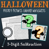 3-Digit Color By Number Subtraction Halloween Mystery Picture Sheets