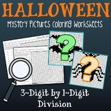 Long Division Coloring Page, Math Halloween Worksheets Mystery Picture Activity